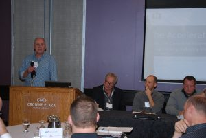 Jim Bolger with panelists, from left, Stan Marco, Derek Satnik and Brian Pescod, led a discussion on net-zero homes.