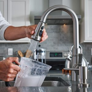 Moen Power Clean and Power Boost technologies make kitchen cleanup quicker.