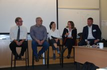 Panelists, from left, Kevin Stelzer, Steve Kemp, Olivia Keung, Suzanne Wiltshire and Adrian Conrad believe the trades need to be involved in the design process.